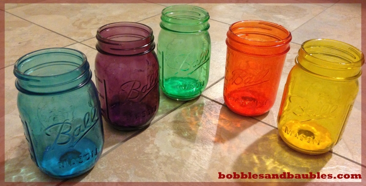 Stained glass mason jars bobbles baubles for How to stain glass jars with paint