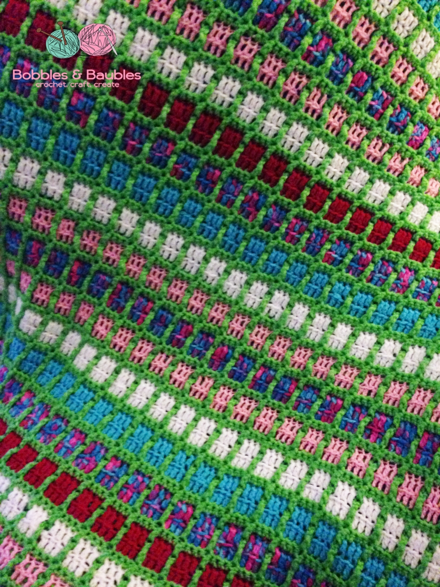 Boxy Neon Afghan A Scrap Yarn Project Bobbles Amp Baubles