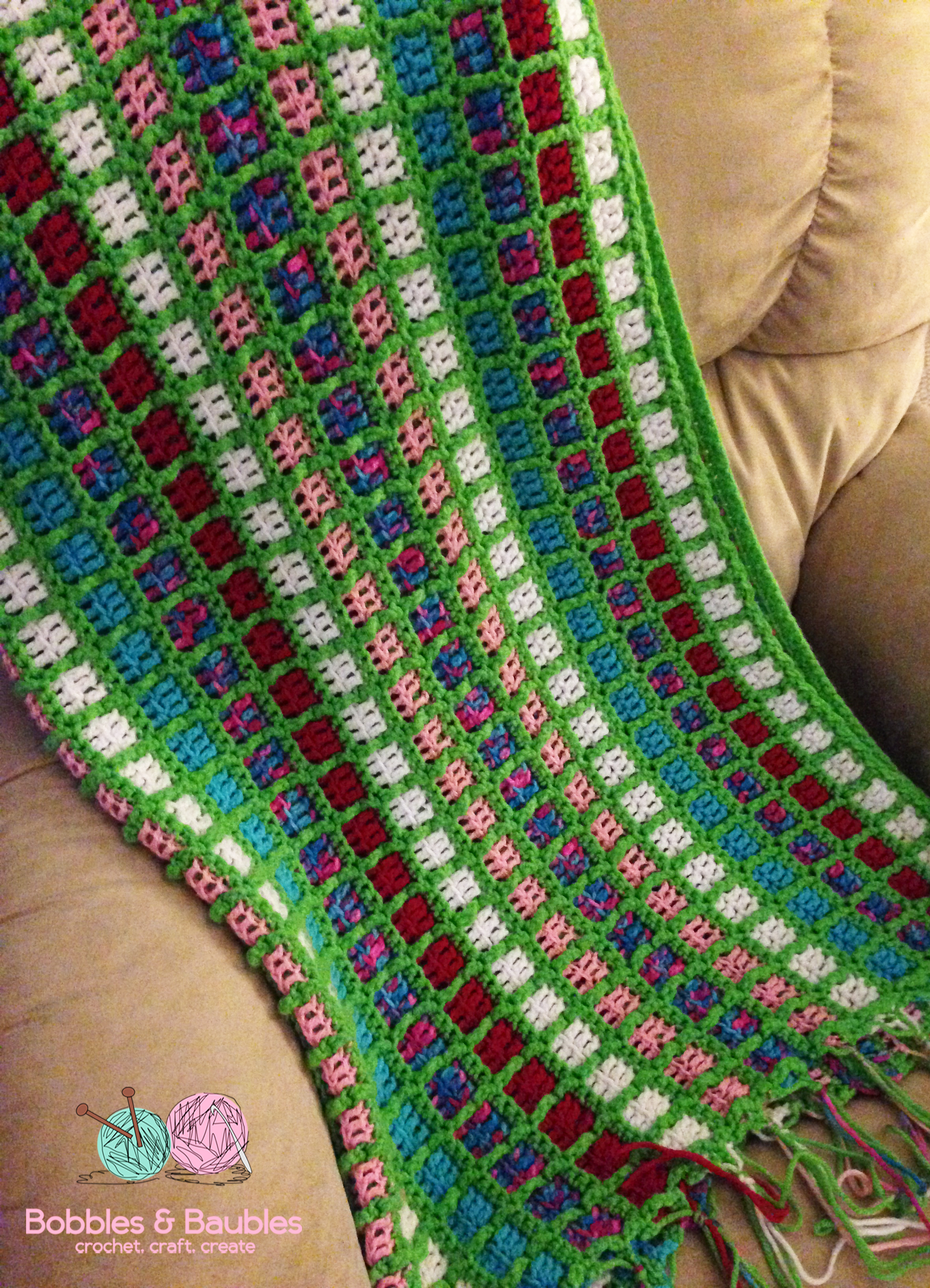 Boxy Neon Afghan – A Scrap Yarn Project – Bobbles & Baubles