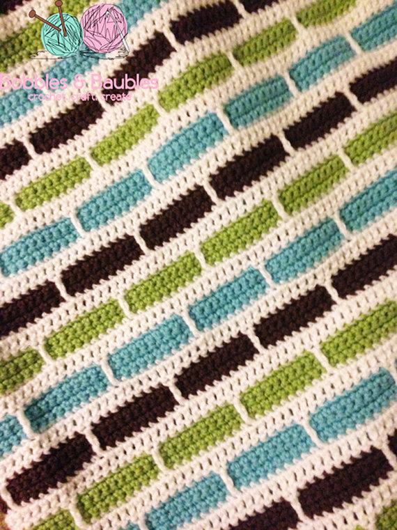 Crochet Stripes Blanket Pattern Bobbles Baubles